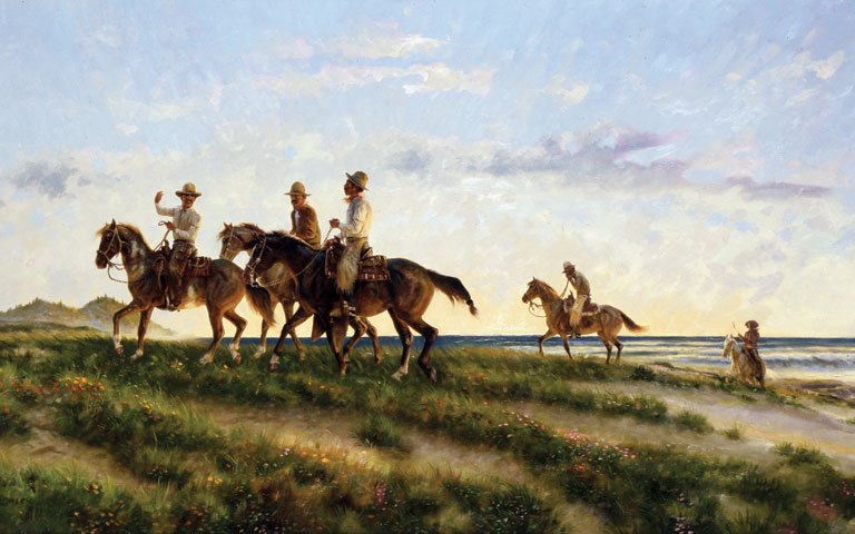 Vaqueros of the Pacific Slope, 26 x 48, oil